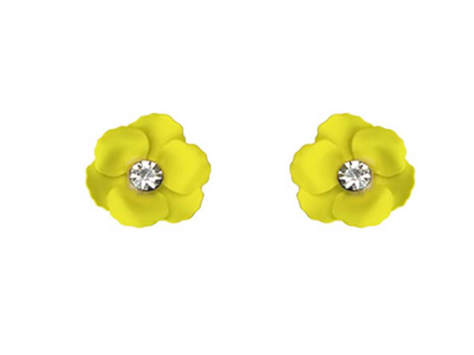 Matte Flower Post Earrings | Yellow - Lunga Vita Designs