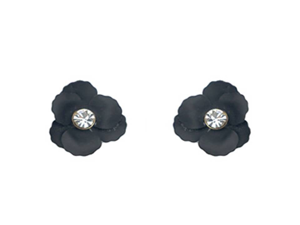 Matte Flower Post Earrings | Black - Lunga Vita Designs