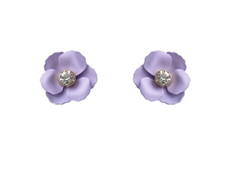 Matte Flower Post Earrings | Violet - Lunga Vita Designs