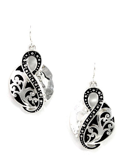 SILVER AND BLACK PATINA EARRINGS - Lunga Vita Designs