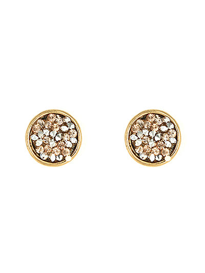 Rhinestone Filled Circle Post Earrings - Lunga Vita Designs