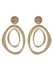 Double Worn Gold Circle Post Dangle Earrings - Lunga Vita Designs