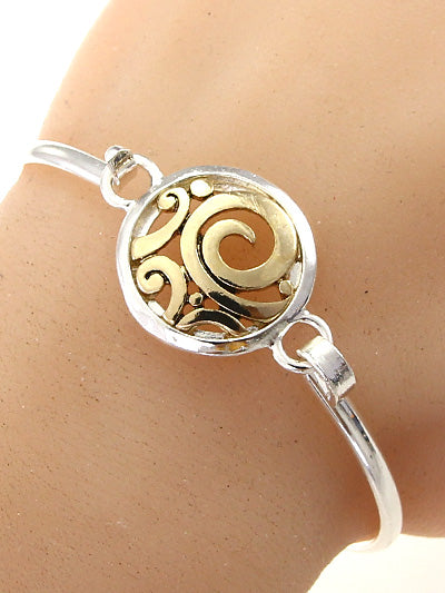 Cut-Out Cirlce Two-Tone Bracelet - Lunga Vita Designs
