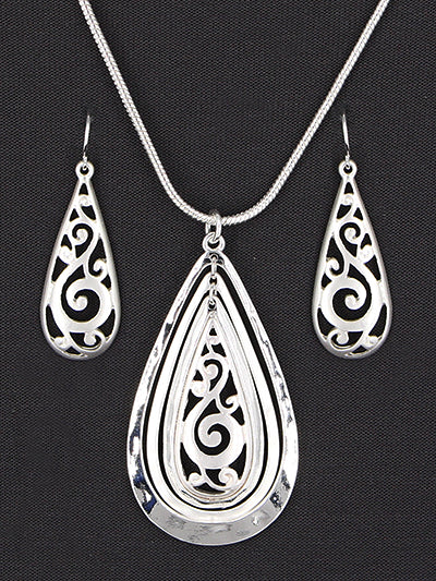 Sleek Matte and Shining Silver Teardrop Necklace and Earrings Set | Silver - Lunga Vita Designs