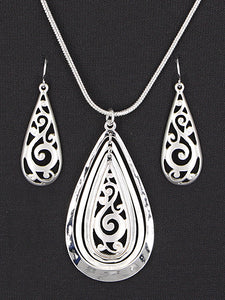 TEARDROP FILIGREE NECKLACE SET | SILVER