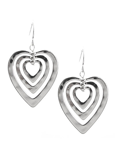 THREE HAMMERED HEARTS EARRINGS | SILVER