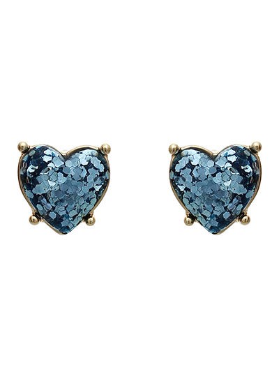 GLITTER AQUA HEART POST EARRINGS