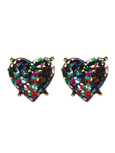 GLITTER MULTICOLORED HEART POST EARRINGS