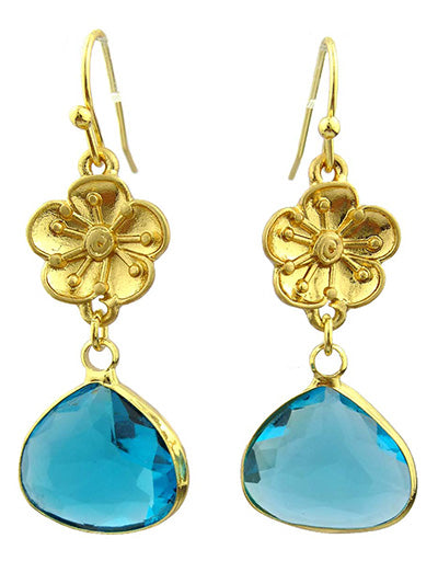 MATTE GOLD FLOWER EARRINGS WITH CRYSTAL | AQUA