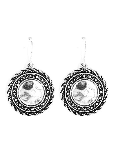Hammered Silver Disk Dangle Earrings with Twisted Silver Trim - Lunga Vita Designs