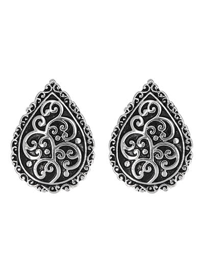 Patterned Teardrop Silver Clip On Earrings - Lunga Vita Designs