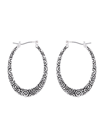 Circle Patterned Oval Silver Hoop - Lunga Vita Designs