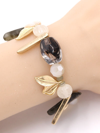 Beaded Stretch Bracelet with Gold Leaves - Lunga Vita Designs