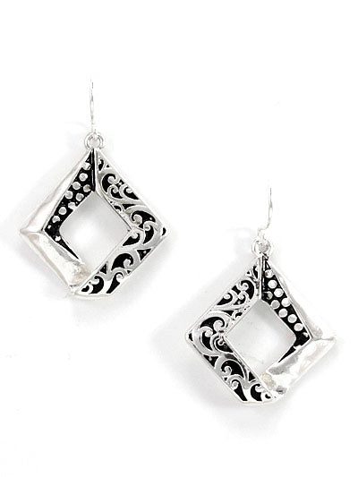 TILTED SQUARE SILVER AND BLACK PATINA EARRINGS