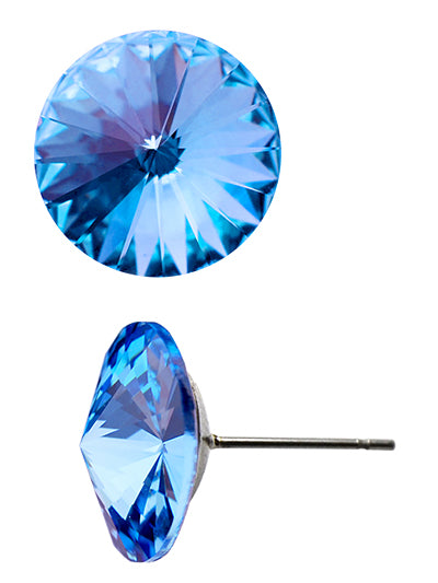 Swarovski Round Crystal Earrings | Light Sapphire - Lunga Vita Designs