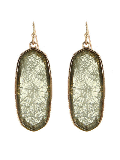 Oval Resin Earrings | Opaque Olive - Lunga Vita Designs