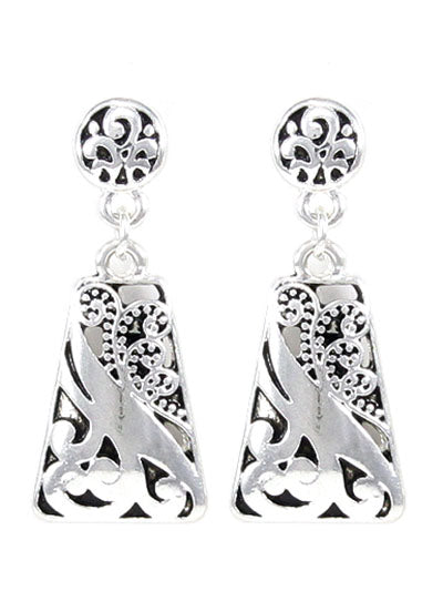SILVER FILIGREE PATTERNED CLIP ON EARRINGS