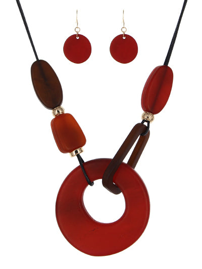 Red Large Lucite Circle Necklace Set - Lunga Vita Designs