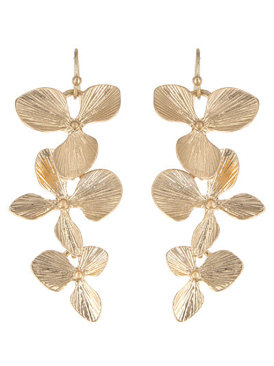 DANGLING FLOWER EARRINGS | WORN GOLD