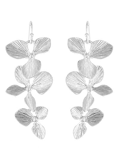 Dangling Flower Petal Earrings | Worn Silver - Lunga Vita Designs