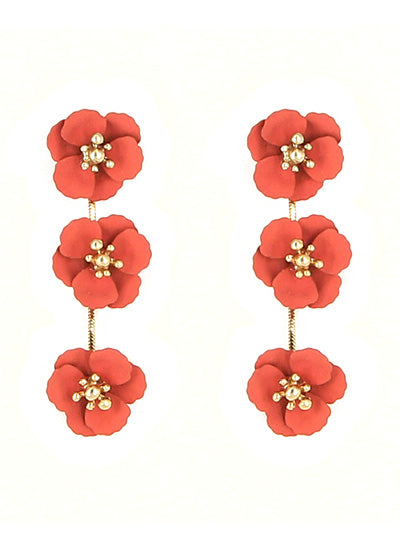 Triple Matte Coral Flower Post Dangle Earrings - Lunga Vita Designs