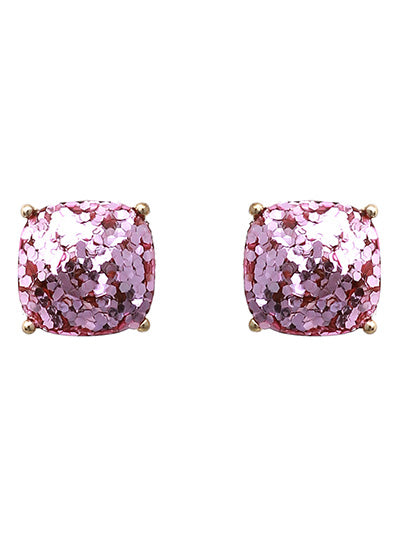 GLITTER  POST EARRINGS | LIGHT ROSE