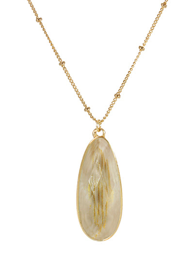 Resin Teardrop Pendant Necklace | Beige - Lunga Vita Designs