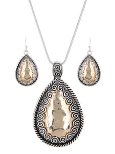 HAMMERED DECORATED TWO TONE TEARDROP NECKLACE SET