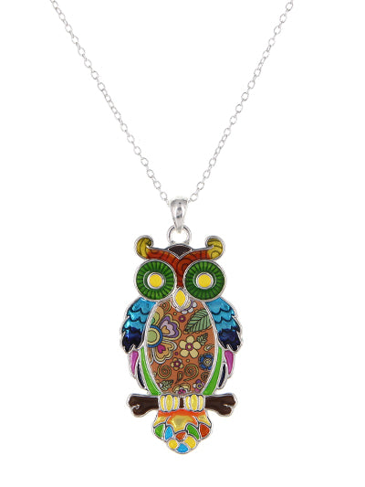 Brightly Colored Enamel Owl Pendant Necklace - Lunga Vita Designs