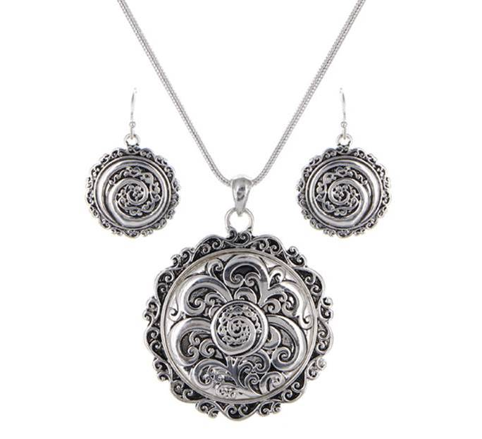 Tailored Filigree Round Necklace Set with Matching Dangle Earrings | Silver - Lunga Vita Designs