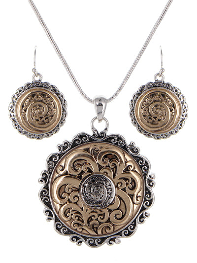 TAILORED FILIGREE ROUND VINTAGE NECKLACE SET | TWO TONE