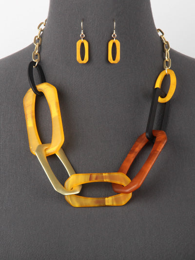 ACRYLIC LARGE LINK NECKLACE SET