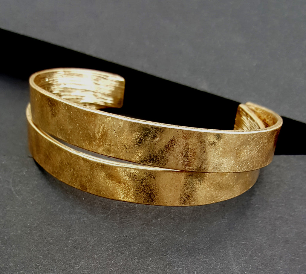 Double Cuff Bracelet | Worn Gold - Lunga Vita Designs