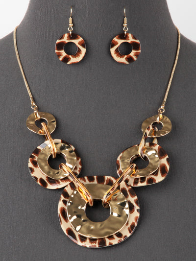 DRAMATIC LEOPARD STATEMENT NECKLACE SET