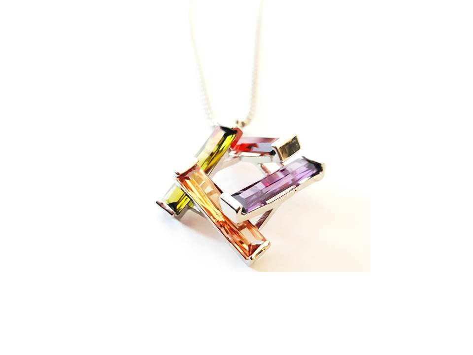Stacked Cubic Zirconia Necklace | Multi Color - Lunga Vita Designs