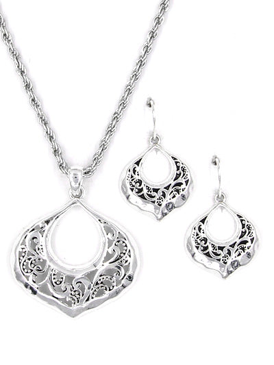 Lacy Silver Tone Necklace Set with Matching Earrings - Lunga Vita Designs