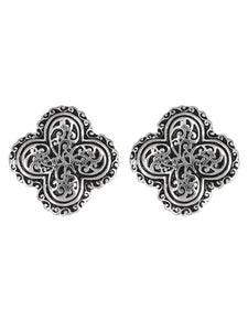 PATTERNED SILVER CLOVER CLIP-ON EARRINGS