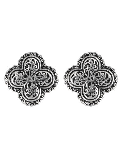Patterned Clover Silver Clip-On Earrings - Lunga Vita Designs