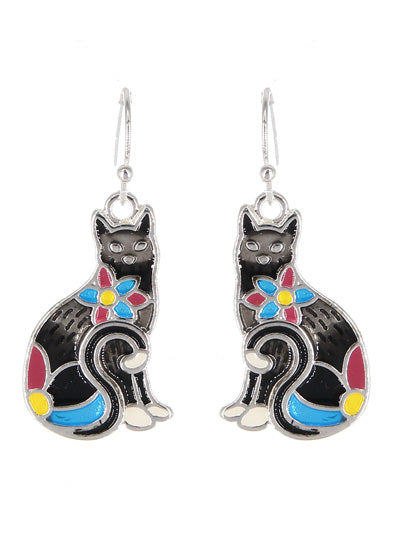 Enamel Flowered Cat Dangle Earrings | Black - Lunga Vita Designs