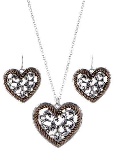 Two-Tone Textured Heart Necklace and Dangle Earrings Set - Lunga Vita Designs