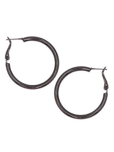 HOLLOW HOOP EARRINGS | GUN METAL