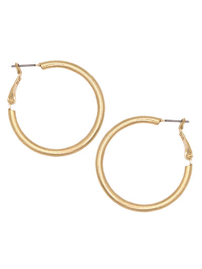 HOLLOW HOOP EARRINGS | WORN GOLD
