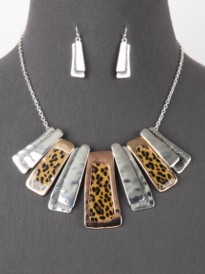 Mixture of Metal Tones with Leopard Resin Inlays Statement Necklace Set - Lunga Vita Designs