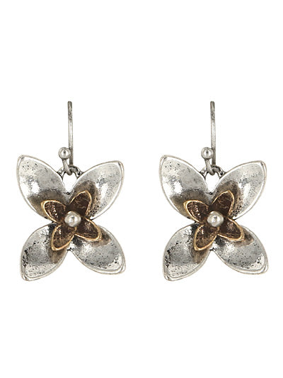 Metal Four Petal Two-Tone Dangle Earrings - Lunga Vita Designs