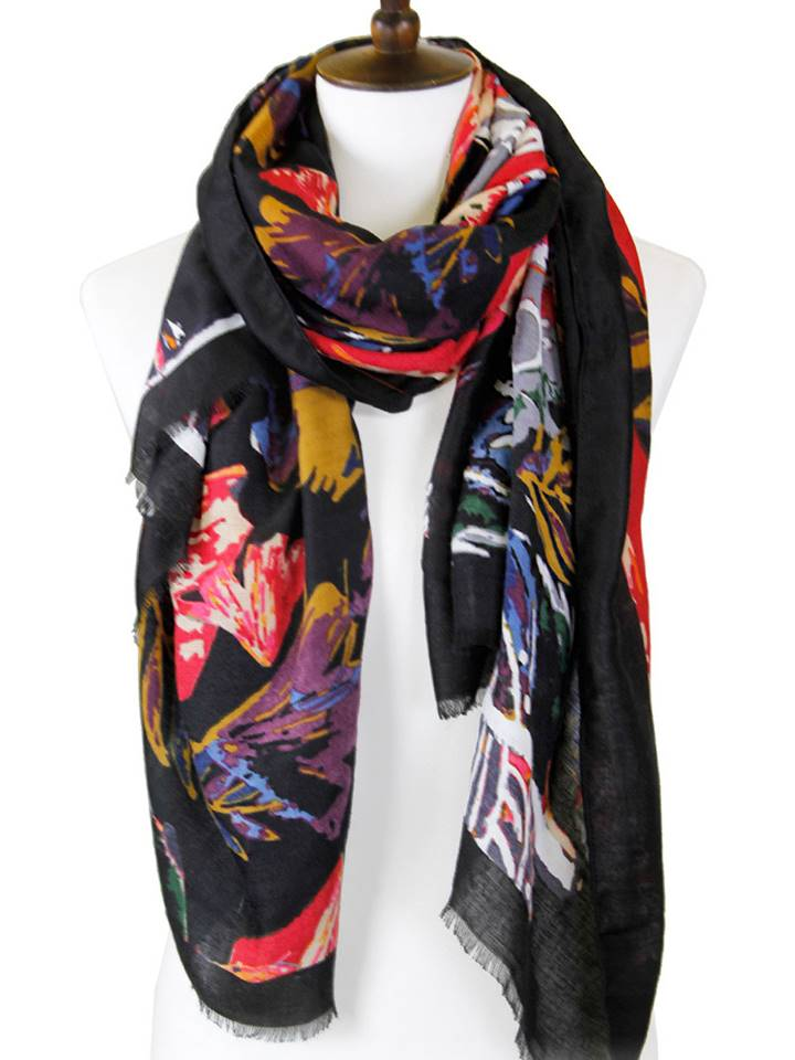 Colored Leaves Rectangular Oblong Scarf | Black - Lunga Vita Designs