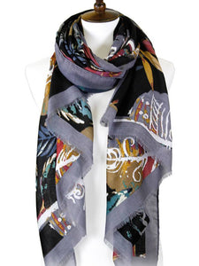 COLORED LEAVES SCARF | GREY