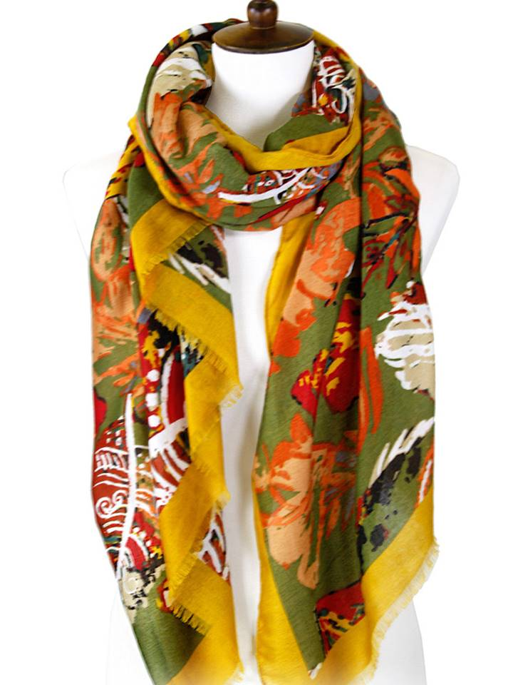 Colored Leaves Rectangular Oblong Scarf | Mustard - Lunga Vita Designs