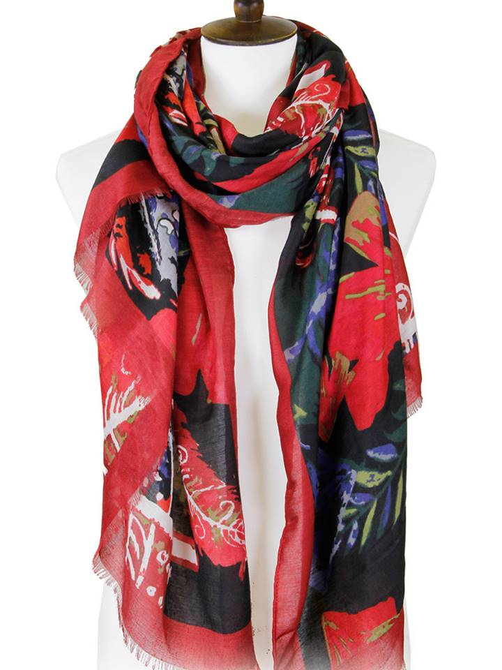 Colored Leaves Rectangular Oblong Scarf | Red - Lunga Vita Designs