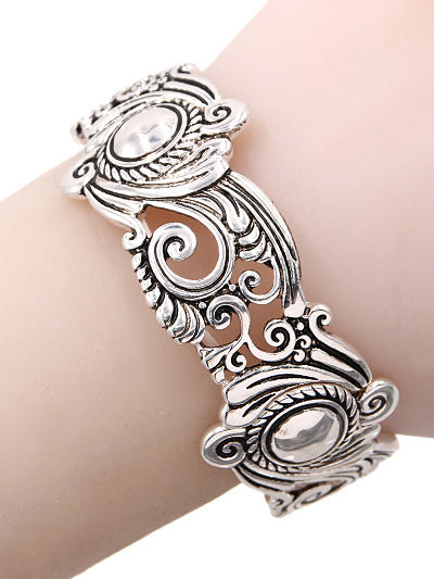 Victorian Style Tailored Silver Stretch Bracelet - Lunga Vita Designs