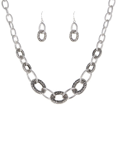 TEXTURED LINK NECKLACE SET | SILVER - Lunga Vita Designs